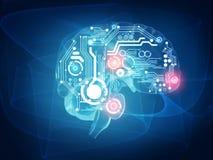 Cerebro humano futurista ilustración del vector