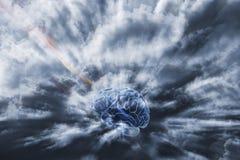 Cerebro humano y comunicación Fotos de archivo