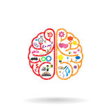 Cerebro izquierdo y símbolo del cerebro derecho, muestra de la creatividad,