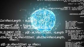 Cerebro y códigos de programa de Digitaces stock de ilustración