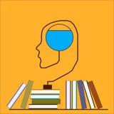 Cerebro y libros Fotografía de archivo