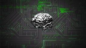 Cerebro y un circuito digital con códigos de programa ilustración del vector