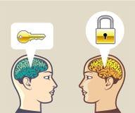 Cerebros cerradura y llave Imagen de archivo libre de regalías