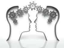Cerebros y engranajes en la pista, concepto de comunicación Imágenes de archivo libres de regalías