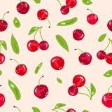 Cereja, conceito abstrato da ilustração, do vegetal e do batido de fruta do vetor do fundo da textura sem emenda fresca vermelha  ilustração royalty free
