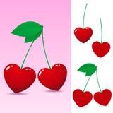 Cereja de coração vermelha ilustração stock
