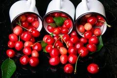 Cereja dispersada dos copos do esmalte Cerejas no copo do ferro no fundo preto Saudável, fruto do verão Cerejas três Fim acima Fotos de Stock