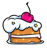 Cereja do bolo da parte Fotos de Stock