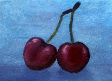 Cereja doce do conto de fadas da pintura a óleo Fotografia de Stock