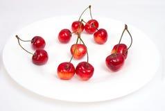 Cereja doce na placa branca Foto de Stock