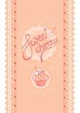 A cereja doce, o logotipo cor-de-rosa da rotulação e o queque na cereja moldam a tira sem emenda Foto de Stock