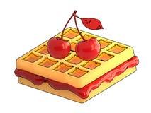 Cereja e waffles com um contorno em um fundo branco 3d arrancam imagens de stock royalty free