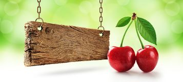 Cereja fresca, cerejas e placa de madeira Foto de Stock Royalty Free
