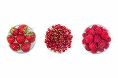 Cereja fresca, corinto, framboesas na placa no fundo branco isolado Cerejas maduras frescas Cerejas doces bagas fotos de stock