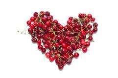 Cereja madura fresca na forma do coração Fotos de Stock Royalty Free