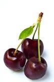 Cerejas doces em um conjunto de três Foto de Stock Royalty Free