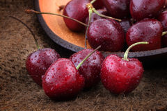 Cerejas doces orgânicas Foto de Stock