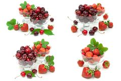 Cerejas e morangos suculentas nas bacias de vidro no backgrou branco foto de stock royalty free