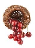 Cerejas em uma cesta de vime em um branco Fotos de Stock Royalty Free