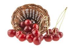 Cerejas em uma cesta de vime isolada em um branco Foto de Stock