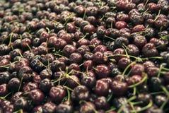Cerejas frescas no mercado de Boqueria Fotografia de Stock