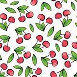 Cerejas maduras e suculentas no teste padrão branco do fundo Fotografia de Stock