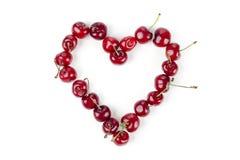 Cerejas na forma do coração Imagem de Stock Royalty Free