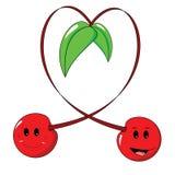 Cerejas que formam um coração ilustração stock