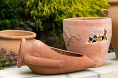 Ceremic jug in garden Stock Image