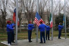 Ceremoni för lyfta för flagga Arkivfoto