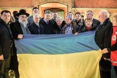 Ceremoni som är hängiven till den 70th årsdagen av befrielsen av Ausc Arkivbild