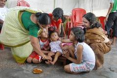 ceremoni som äter första india rice Fotografering för Bildbyråer
