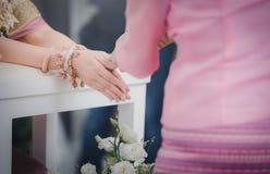 Ceremonia de boda en tradiciones tailandesas Ceremonia de riego vendimia fotografía de archivo libre de regalías
