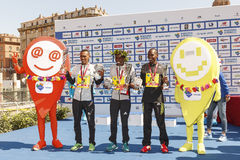Ceremonia de entrega de los premios de los tres ganadores del maratón 2016 de Roma Imagen de archivo libre de regalías