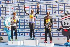 Ceremonia de entrega de los premios de los tres ganadores del maratón 22 de Roma Foto de archivo libre de regalías
