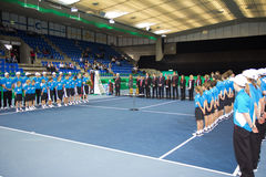Ceremonia de entrega de los premios en el tenis Zurich Opne 2012 Foto de archivo libre de regalías