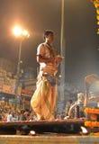 Ceremonia de Ganga Aarti en Varanasi Fotografía de archivo