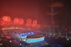 Ceremonia de inauguración Guangzhou China de 2010 Juegos Asiáticos imágenes de archivo libres de regalías