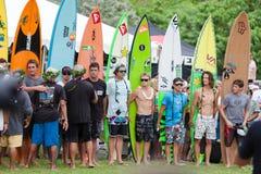 Ceremonia de inauguración hawaiana tradicional de Eddie Aikau Imagen de archivo