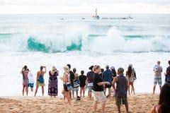 Ceremonia de inauguración hawaiana tradicional de Eddie Aikau Imagen de archivo libre de regalías
