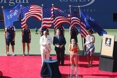 Ceremonia de inducción para el champi del Grand Slam de diez veces Fotos de archivo libres de regalías