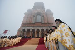 Ceremonia de la consagración de la catedral nacional de Romania's foto de archivo