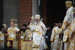 Ceremonia de la consagración de la catedral nacional de Romania's fotografía de archivo