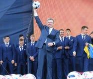 Ceremonia de la salida del equipo de fútbol nacional de Ukrai Imagenes de archivo