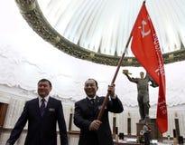 Ceremonia de la transferencia de la bandera de la victoria Imagen de archivo libre de regalías