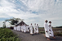 Ceremonia de Melasti en Klaten Imagen de archivo