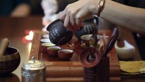 Ceremonia de té del chino tradicional almacen de video