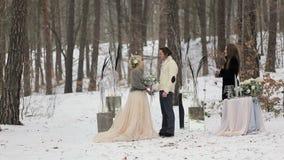 Ceremonia del compromiso de la boda en bosque del invierno almacen de video