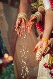 Ceremonia del fuego en una boda hindú del Tamil Fotografía de archivo