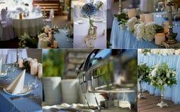 Ceremonia elegante, de moda del arco de la boda adornada con diversas flores azules y del blanco Fondo del diseño floral?, contex Imagenes de archivo